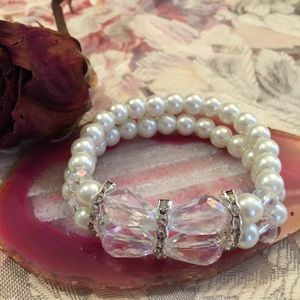 Jewelry - Faux Pearl Stretch Bracelet with Crystal Stones